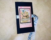Pink and Navy Blue Themed Junk Journal, Covered with Fabric, Handmade, Travelers Notebook Size, For Her