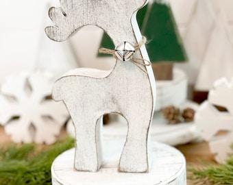 Wood deer, woodland Christmas, deer decor, winter decor, Christmas decor, woodland, rustic Christmas, neutral Christmas, neutral winter dec