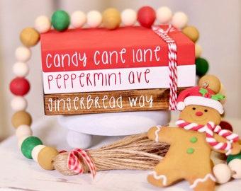 Mini bookstack, tiered tray decor, gingerbread decor, farmhouse kitchen, Christmas decor, Christmas Bookstack, Christmas tiered tray decor