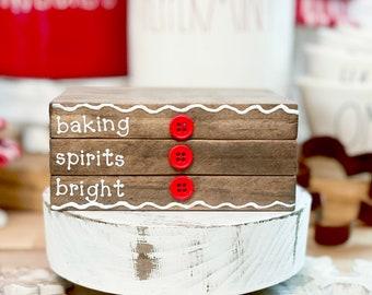 Christmas bookstack, gingerbread theme, gingerbread decor, gingerbread, Christmas tiered tray, Christmas decor, Christmas cookies