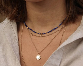 seed beads and brass drops Necklacechokerpearl necklace Rayana with colorful beads