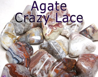 Agate Crazy Lace (Mexico) MEDIUM Tumbled Gemstone - 1, 3, or 5 pack - 20 to 25mm or 0.7 to 1 inch - Natural Healing Reiki Chakra