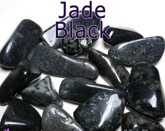 Jade Black (Canada) MEDIUM Tumbled Gemstone - 1, 3, or 5 pack - 20 to 25mm or 0.7 to 1 inch - Natural Healing Reiki Chakra