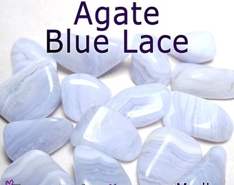 Agate Blue Lace (Namibia) MEDIUM Tumbled Gemstone - 1, 3, or 5 pack - 20 to 25mm or 0.7 to 1 inch - Natural Healing Reiki Chakra