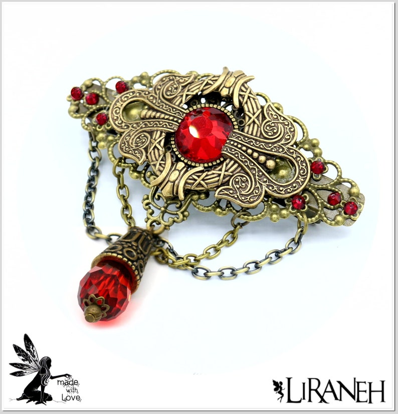 Edele LIRANEH hair clip glass cut cabochon and drops with rhinestones red frilled frame ornaments from America