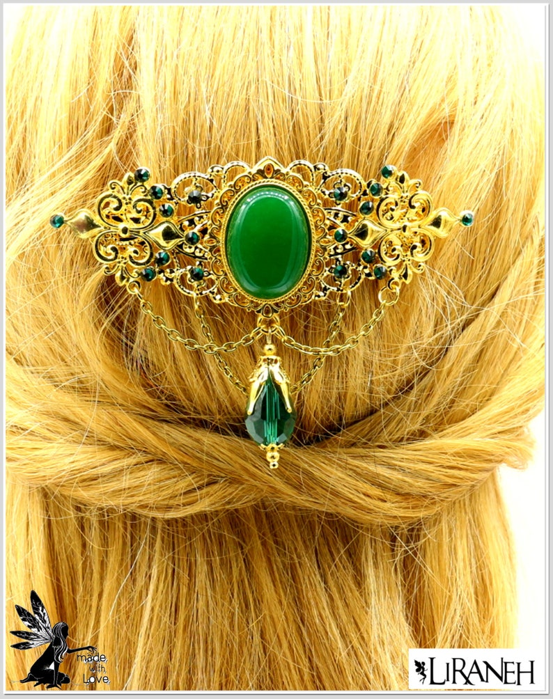 Large LIRANEH gemstone hair clip gold colored with ornaments *Fleur de Lis* large glass cut-out yellow with pearl caps and rhinestone green