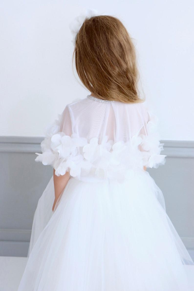Party Dress,Princess Dress Cape,Flower Girl Dress,White Flower Girl Dress,First Communion,First Communion Dress
