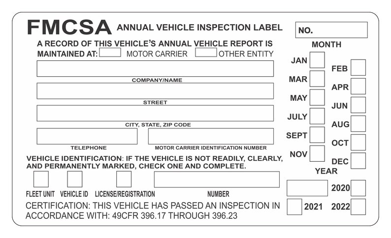 inspection sticker dot annual vehicle truck decal commercial label
