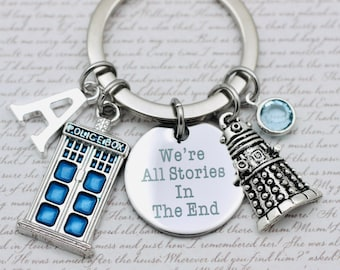 Handcrafted Stamped Doctor Who Inspired Key Chain We/'re All Stories In the End