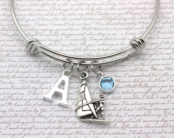 beach Windsurfing charm on a silver plated bangle bracelet nautical surf sea ocean