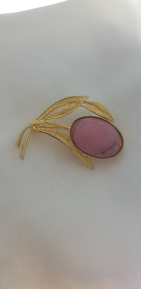 Delicate Pink & Gold Plated Brooch