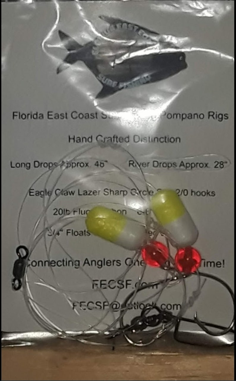 Pompano Rigs 7 Pack Double Drops Florida East Coast Surf image 0