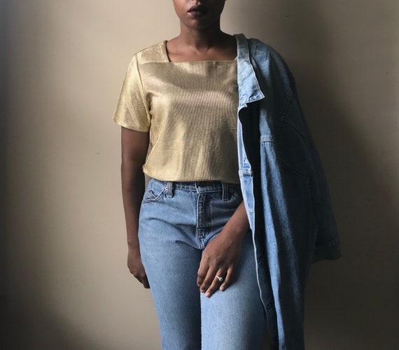 Vintage Lillie Rubin Short Sleeve Gold Metallic S… - image 2
