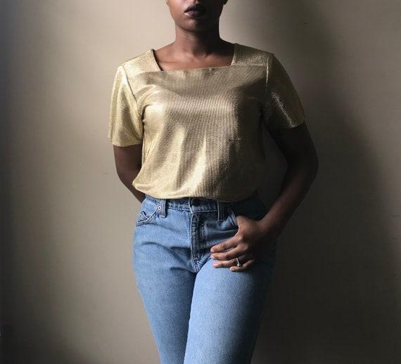 Vintage Lillie Rubin Short Sleeve Gold Metallic S… - image 3