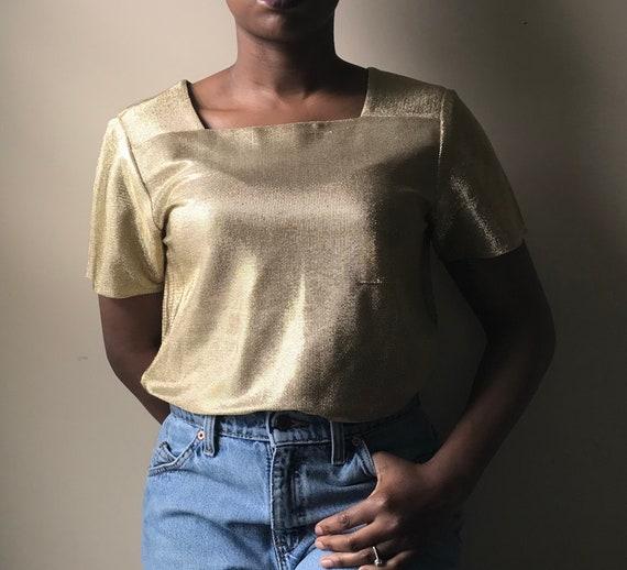 Vintage Lillie Rubin Short Sleeve Gold Metallic Sh