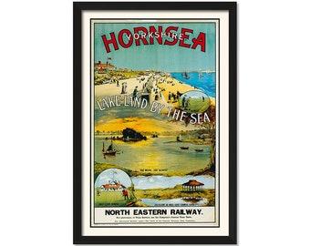 Vintage Rail travel railway poster  A4 RE PRINT Hornsea Lake-Land by the Sea