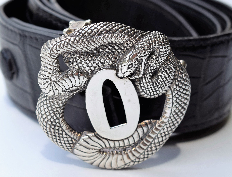 Antique Samurai Tsuba Warrior Design made into a Sterling Silver Belt Buckle