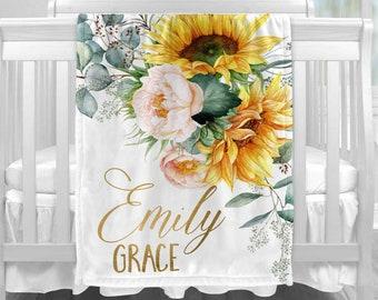 Custom Baby Blanket Sunflower Receiving Nursery Bedding Personalized Blanket Swaddle Blanket Baby Shower Gift