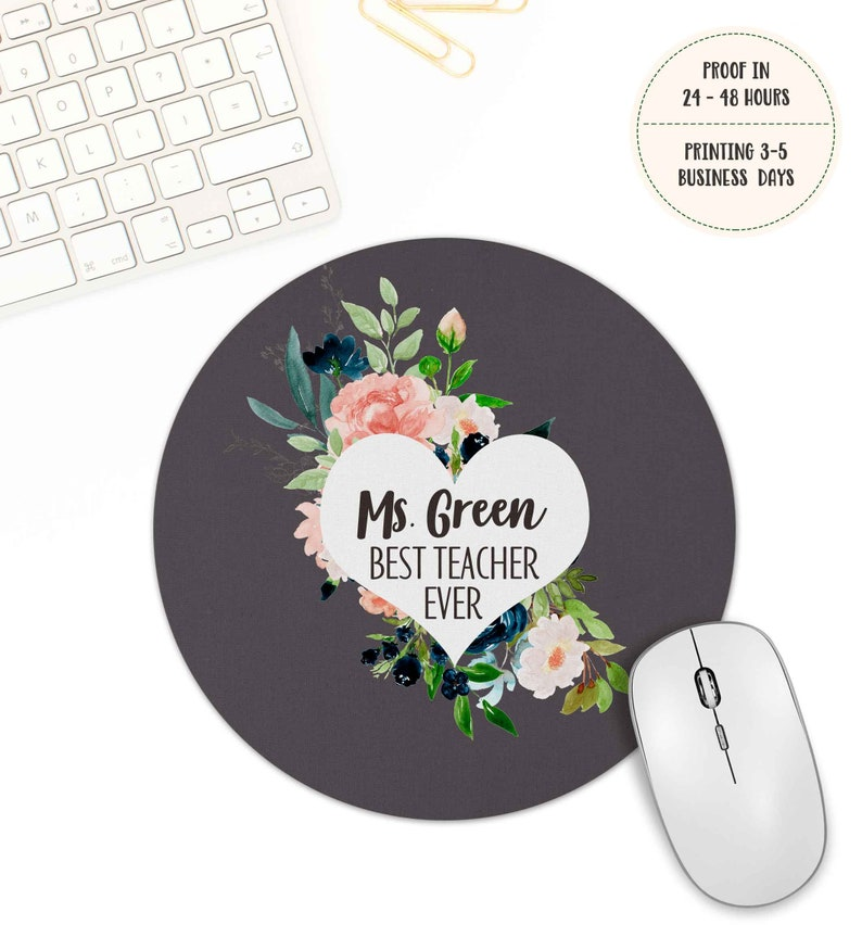 Teacher Appreciation gift Best teacher ever gifts Personalized Teacher Mouse Pad Desk Accessories gift Thank You Gift floral mousepad