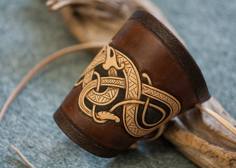 Nordic arm bracer Ouroboros bracelet for viking costume Elf armor Leather Bracer with jormungand Viking/'s serpent bracelet