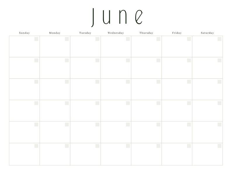 Instant PDF Download Blank 12 Months Calendar