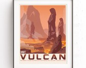 Vulcan Planet, Star Trek art, Retro travel poster, Spock illustration, Kirk Starfleet, Enterprise minimalist, Leonard Nimoy, Gift for geeks