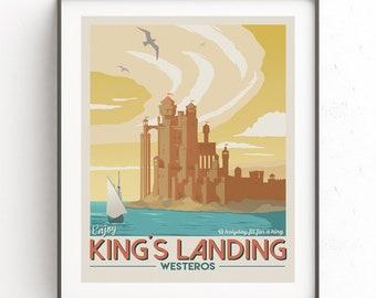Kings landing travel poster,  Game of Thrones illustration, Vintage downloadable print, Fantasy world travel poster, GOT minimalist, Westero
