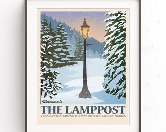 The Chronicles of Narnia, The Lamppost, Retro travel poster, Cs Lewis poster, Mr Tumnus, Lucy Pevensie, There are far, Far better things