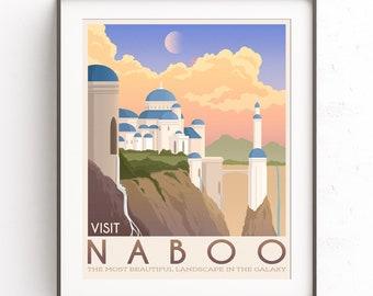 Naboo illustration, Star Wars planet, Retro travel poster, Phantom menace, Chewie wall art, Padme Amidala, Anakin Skywalker, Galactic Empire