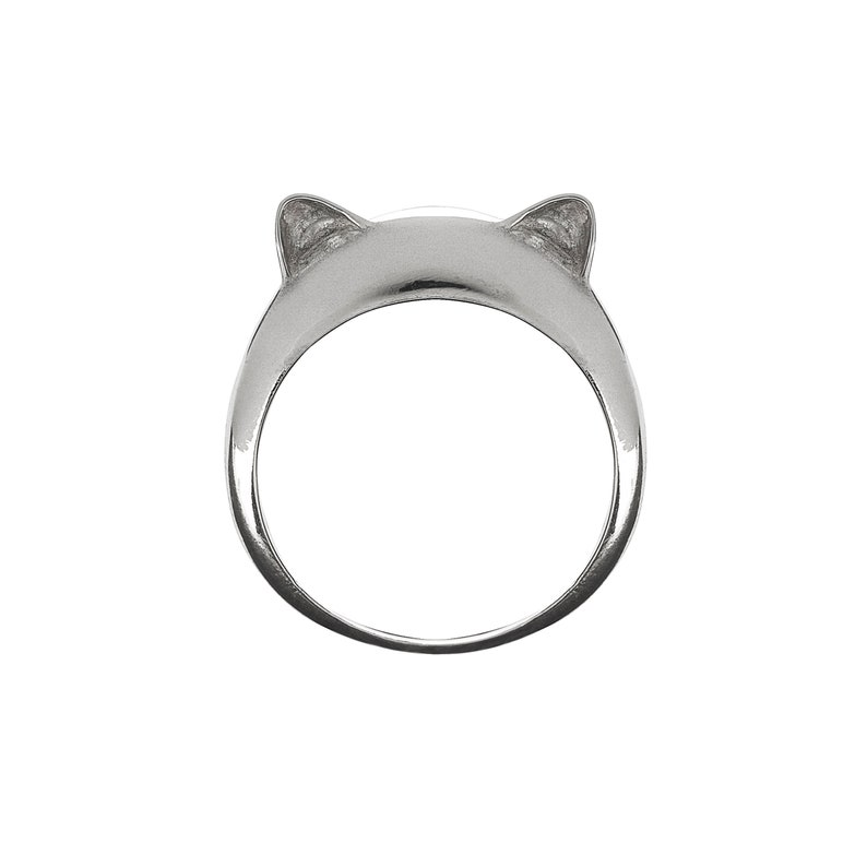 Cute Kitty Minimal Silver Ring Simple Cat Ring Silver 925 Gift For Cat Lovers