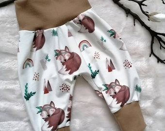 Pump Pants Baby Baby Pants Jersey Pants 50-56 62-68 74-80 86-92 Forest Animals Foxes