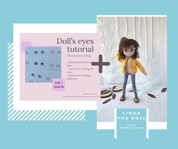 Crochet doll pattern pdf doll Linda + Doll eyes pdf tutorial English