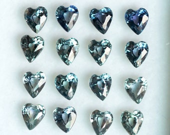 FM1680 A box of Mixed Greeish Blue Heart Shape Sapphires 9 pcs 3.6-3.8 mm sapphire loose gemstones from Tanzania 2.14 cts.