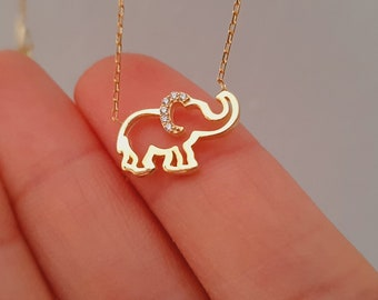 14k Solid Gold Elephant Necklace, Gold Elephant Pendant, Christmas Gift, Valentines Day Gift, Girlfriend Gift, Mothers Day Gift