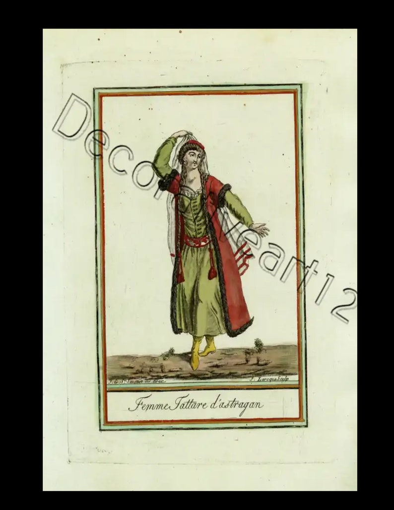 18th Century hand colored  engraved print from Grasset-Labrousse costume decorative art
