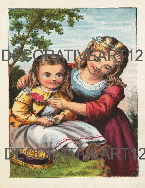 Children Nursery colored picture print plate from circa 1880/'s children