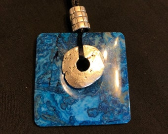 Blue Crazy Lace Agate pendant necklace