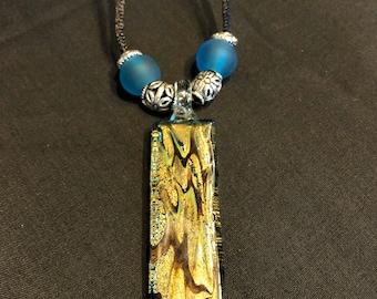 Blue Green glass rectangular long glass pendant necklace