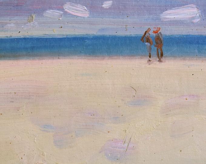 Miniature Framed beach painting Tiny original oil art.