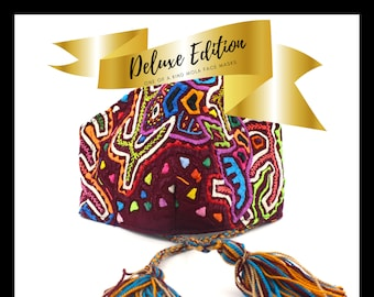 SPECIAL DELUXE EDITION |  Adjustable Mola Face Mask | Textile Art from the Kuna Tribe | Only One Available of Each Design Number | Nose Wire