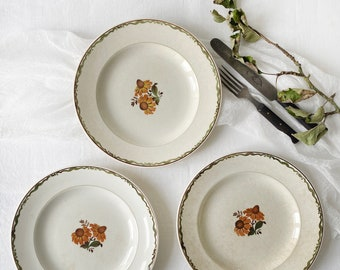 """Vintage Scandinavian dinner plate, set of three with flower decor and green rim 