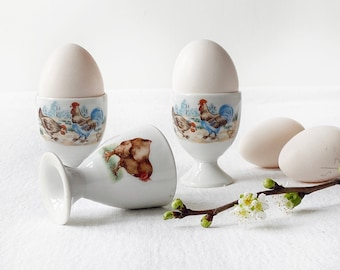 Vintage egg cups, Set of three | Scandinavian mid 1900's design | Mix and match chicken decor - Perfect for Easter breakfast or everyday joy