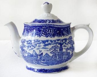 Rare find - Vintage Blue and White Teapot from Arabia, Finland | Finnish transferware porcelain called Sininen maisema (Landscape Blue)
