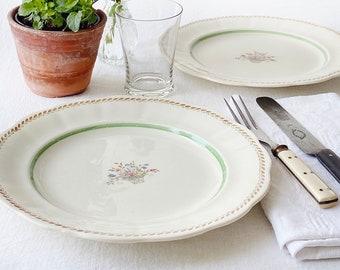 "Scandinavian vintage dinner plate | Swedish porcelain tableware, Rörstrand ""Capri"" | Romantic Grandma-style with green trim and flower decor"
