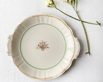 "Scandinavian vintage round serving platter | Swedish porcelain tableware, Rörstrand ""Capri"" | Romantic with green trim and flower decor"