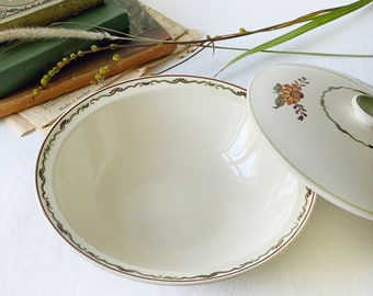 """Vintage Scandinavian serving bowl with lid, flower decor and green rim 