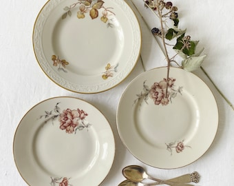 Vintage mix and match set of cake plates, creamy colored with flower /nuts decor and gold rim | Afternoon tea cake plate sold as a set.