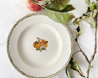 """Vintage Scandinavian set of two side plate, with flower decor and green rim 