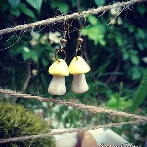 Green Mushroom Toadstool Earrings