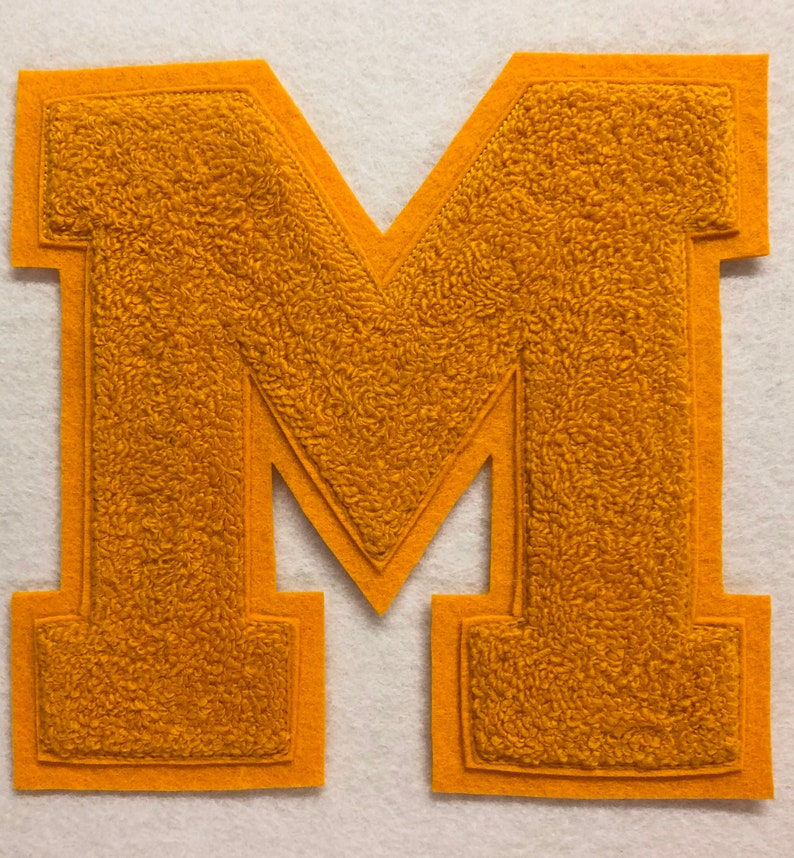 Your Choice of one 6 A-Z Chenille Letter Choice of TOP and BOTTOM FELT colors These are traditional chenille. Pictures are examples
